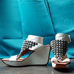 Modern Vintage Studded Leather Wedge Sandals